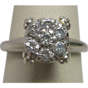 0.25 ct. Diamond Cluster 14K White Gold Engagement Ring
