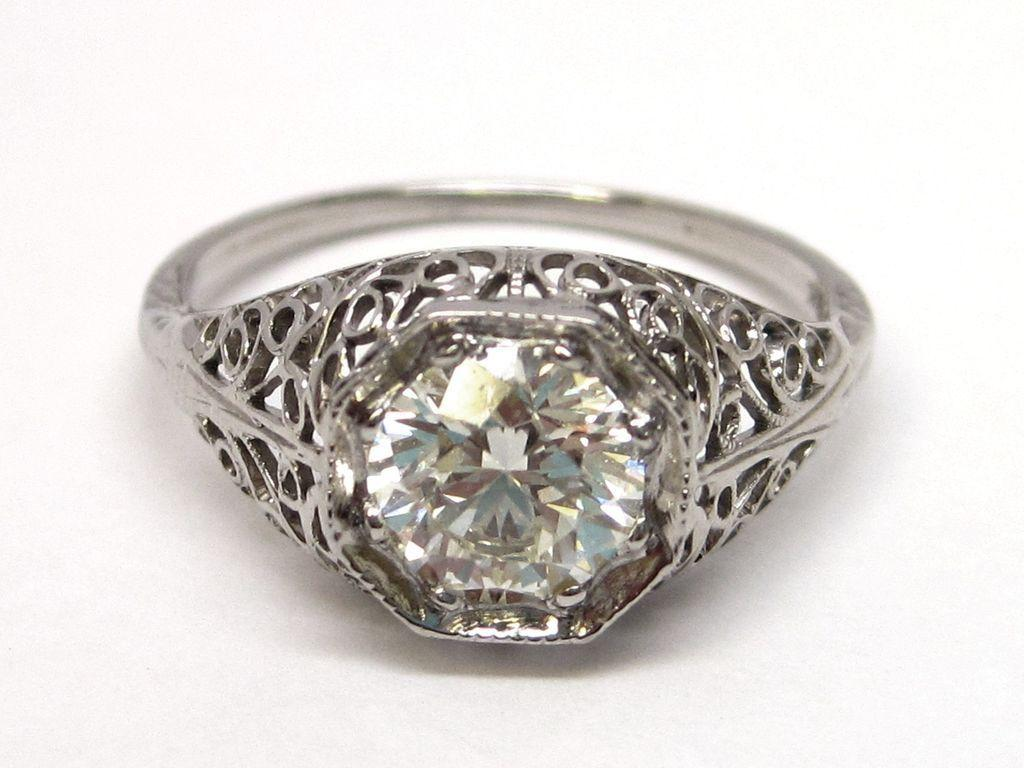 Filigree 18K White Gold 1ct+ Diamond Engagement Ring