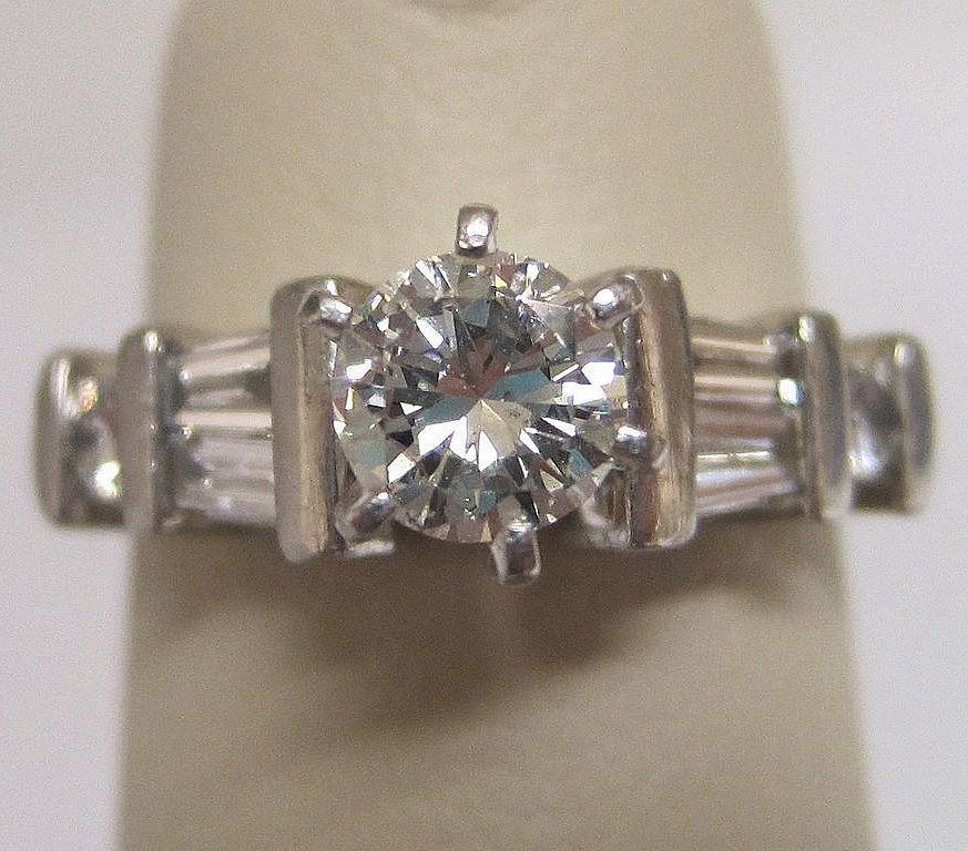 Platinum and Diamond Round Baguette Engagement Ring
