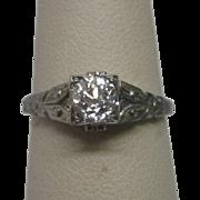 Art Deco 0.75 ct. Diamond Engagement Ring in 18K White Gold