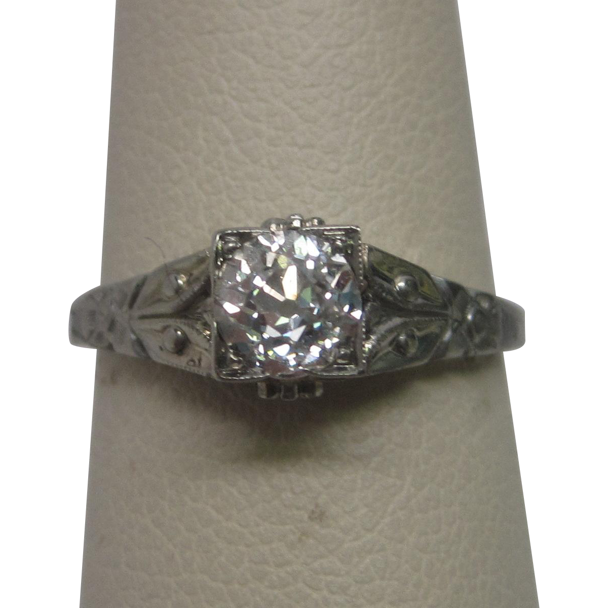 Art Deco 0.75 ct. Diamond Engagement Ring in 18K White Gold ca 1930