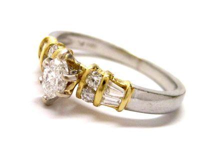 Two Tone Platinum + 18K Gold Diamond Engagement Ring