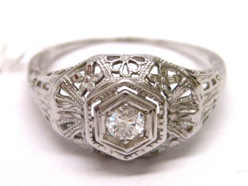 18K White Gold Diamond Edwardian Filigree Engagement Ring
