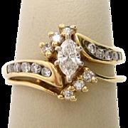 14K Yellow Gold Diamond Marquise Engagement Ring Wedding Set