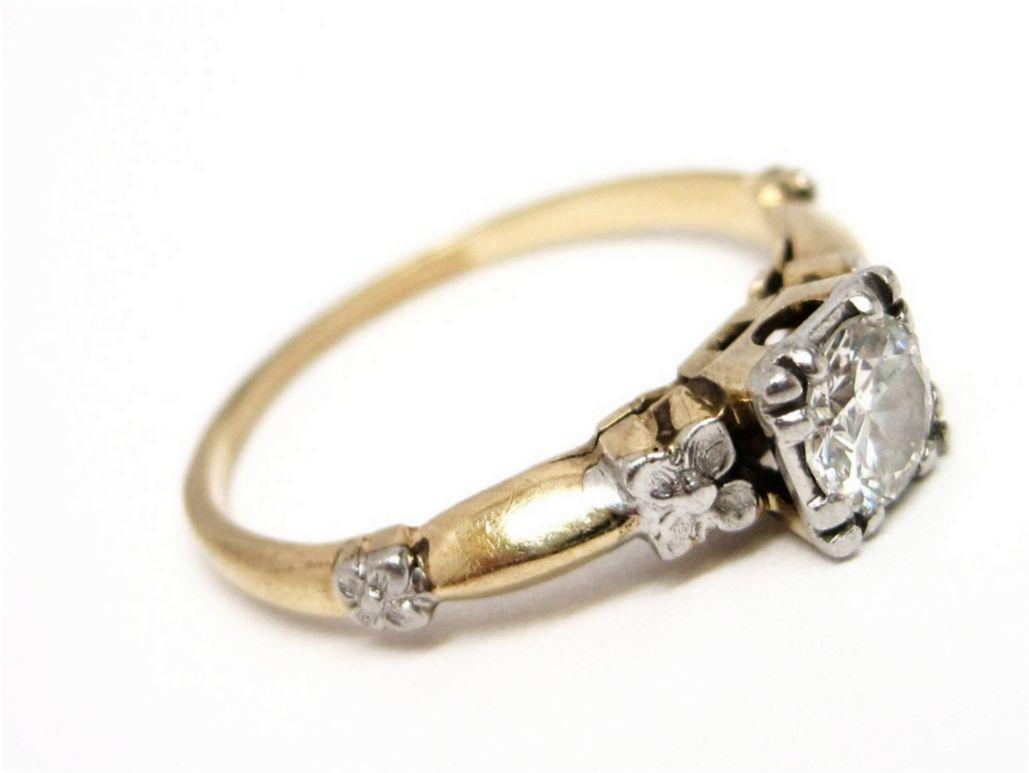 Art Deco Diamond Platinum & 14K Gold Engagement Ring
