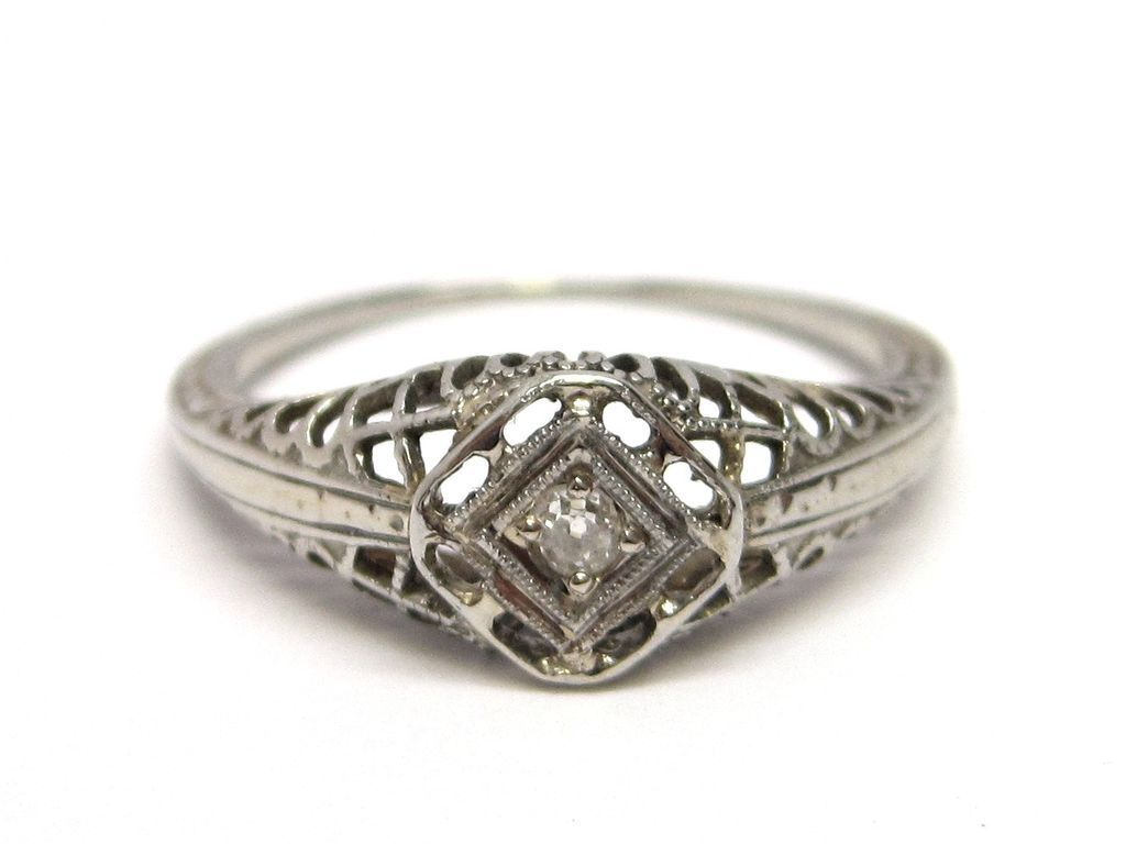 18K Gold Diamond Filigree Edwardian Engagement Ring