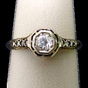 1920's 14K Yellow Gold Filagree Diamond Engagement Ring