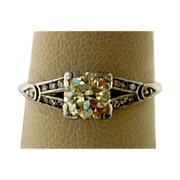 Platinum Art Deco Natural Fancy Color Diamond Ring