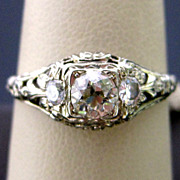 Art Deco 18K White Gold Filigree Engagement Ring