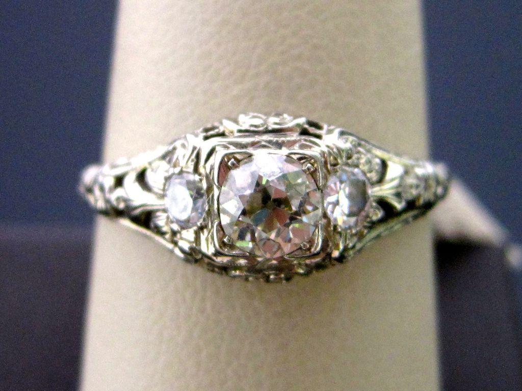 Art Deco 18K White Gold Filigree Engagement Ring