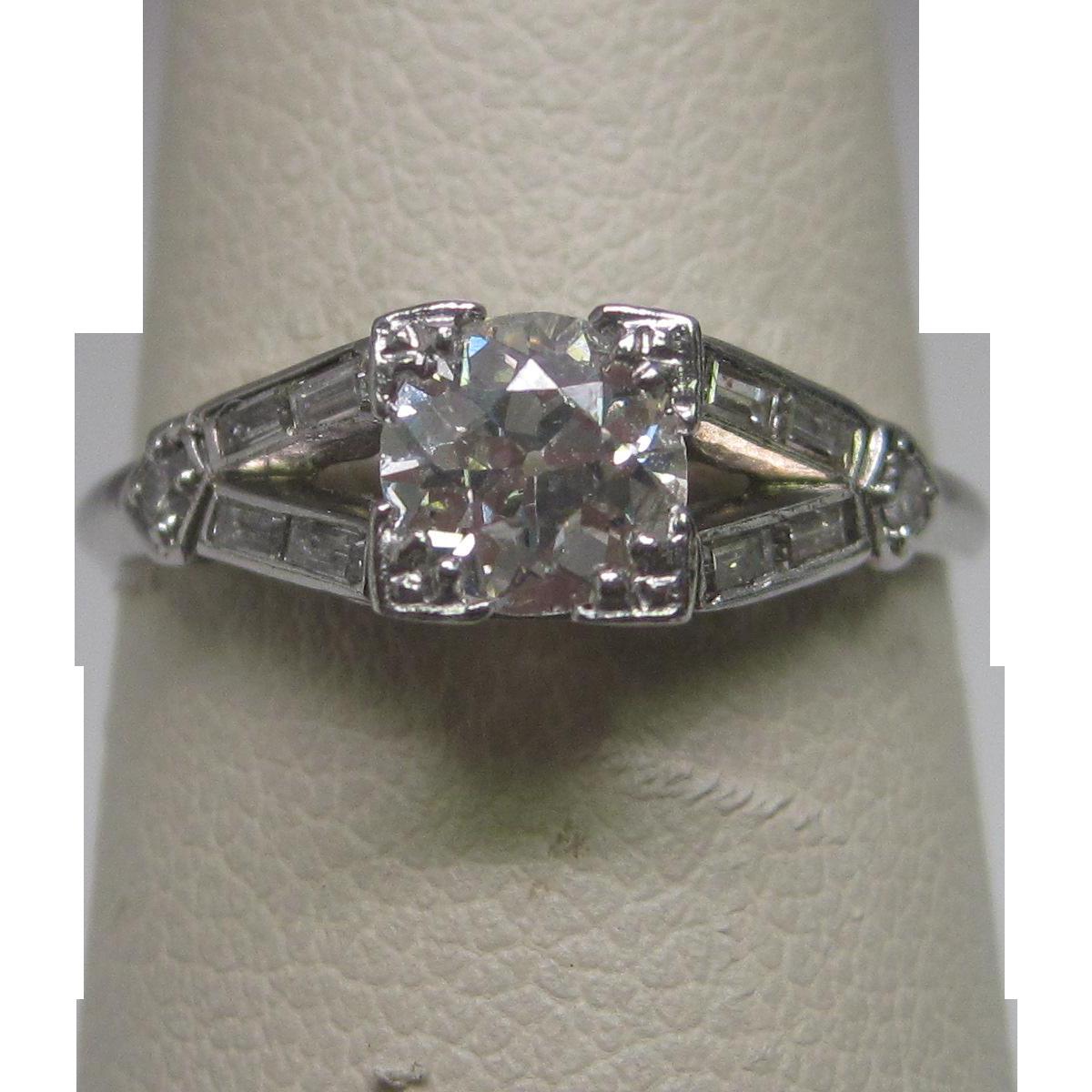 Art Deco 0.55 ct. Diamond Mine Mine Cut and Baguette in Platinum Engagement Ring