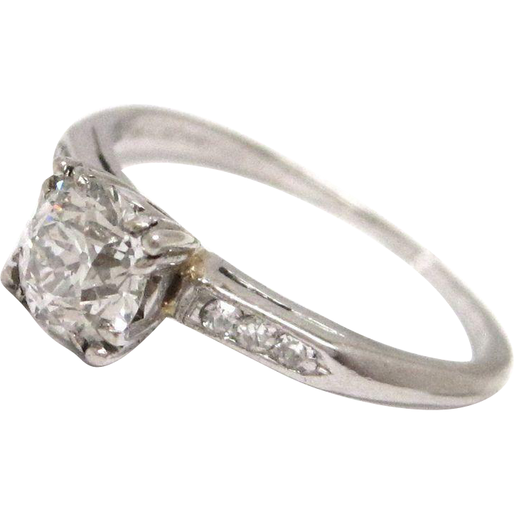 Vintage 0.80ct Old MIne Cut Diamond Platinum Engagement Ring
