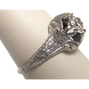 18K White Gold Diamond Deco Engagement Ring