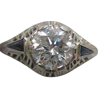 Art Deco Diamond & Synthetic Sapphire Engagement Ring in 18K White Gold