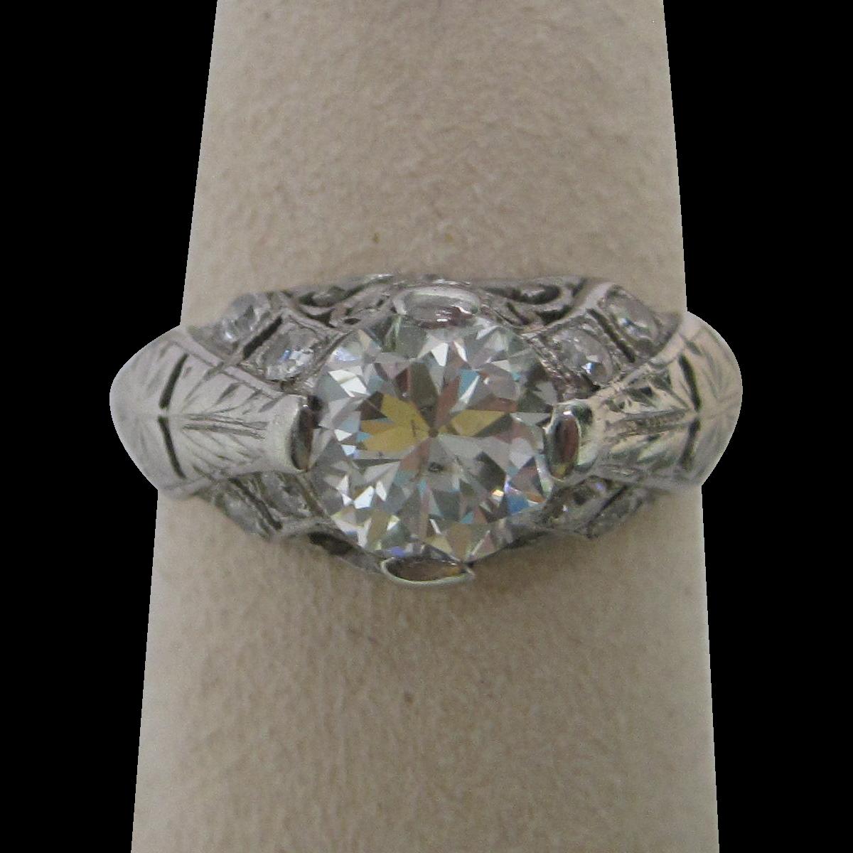 Art Deco 1.45 cttw Diamond Platinum Engagement Ring All original Rare not a copy!