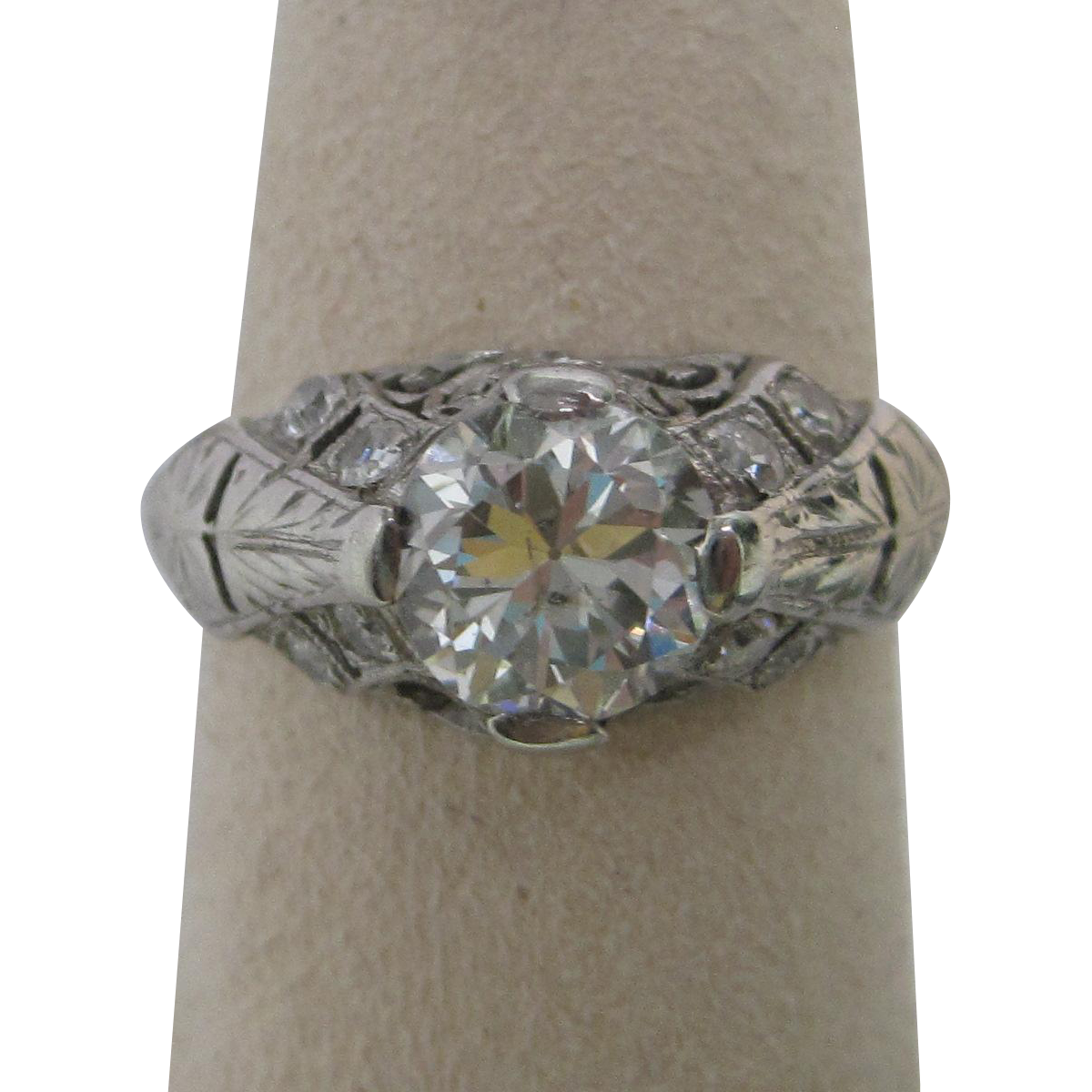 Art Deco 1.45 cttw Diamond Platinum Engagement Ring All original Rare not a copy!