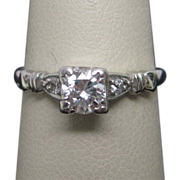 1950's Retro Platinum Diamond Engagement Ring