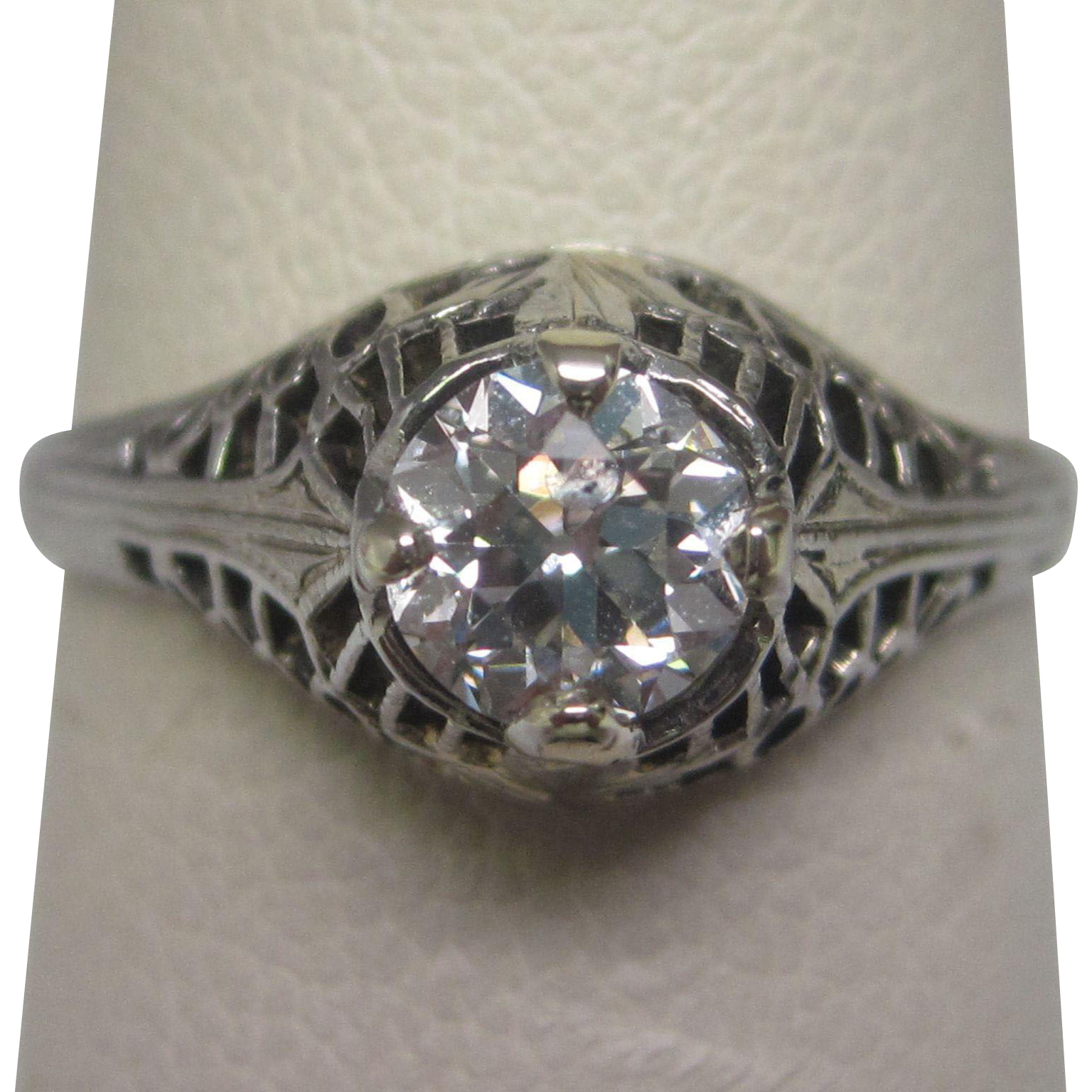 Old European Cut 0.53 ct. Diamond Ring with GIA Report Ca 1920 Original