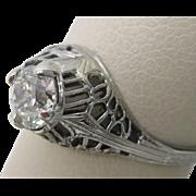 Old European Cut 0.53 ct. Diamond Ring with GIA Report Ca 1920 Original