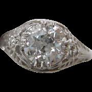1.22 carat Old European Cut Diamond Engagement ring set in Platinum  c. 1925