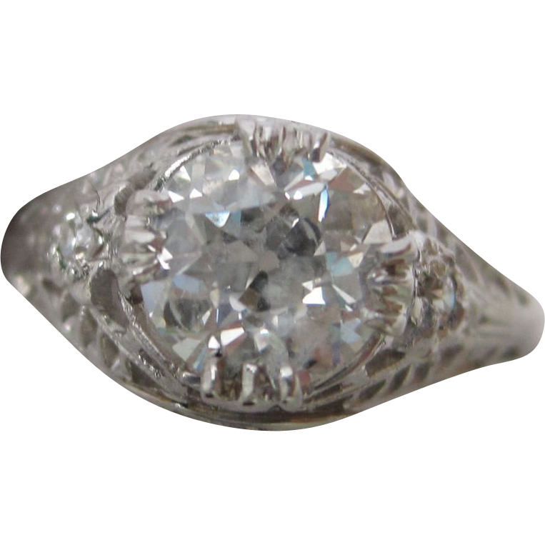 1.22 carat Old European Cut Diamond Engagement ring set in Platinum  c. 1925