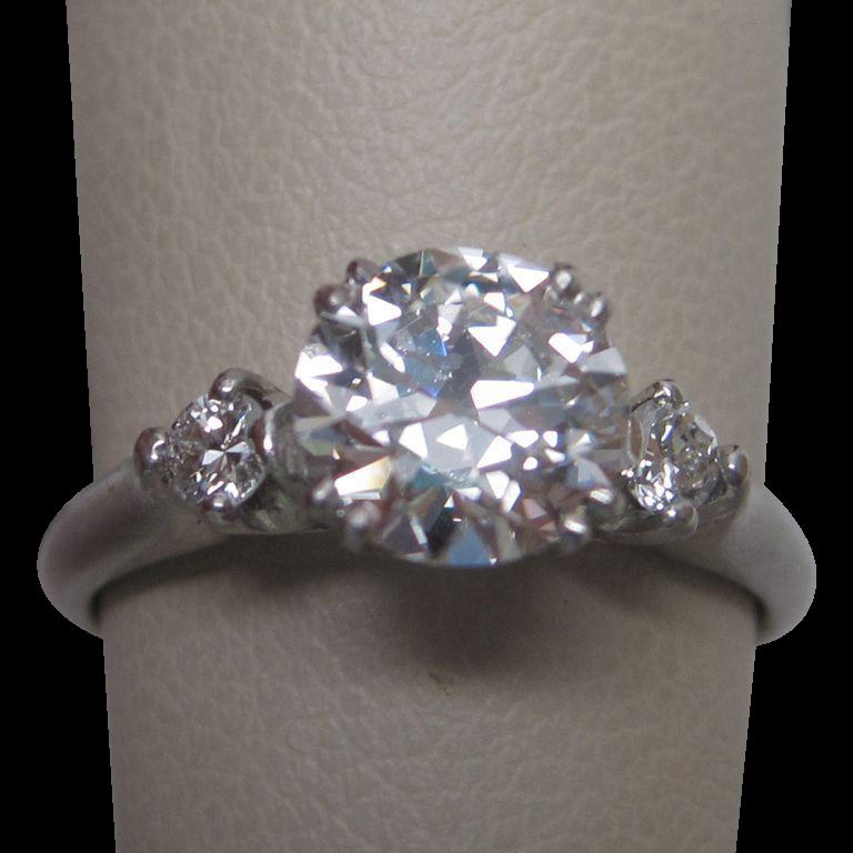 G.I.A. Certified 1.06 Carat Platinum Diamond Ring Circa  1960s