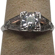 Art Deco Platinum with Diamond Engagement Ring