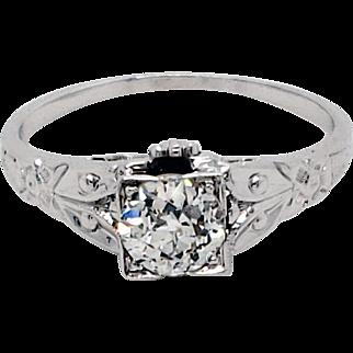 Art Deco 0.75 ct. Diamond Engagement Ring in 18K White Gold ca 1930