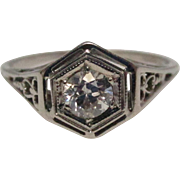 Art Deco 18 Karat White Gold Old Mine Cut Diamond Filigree Ring