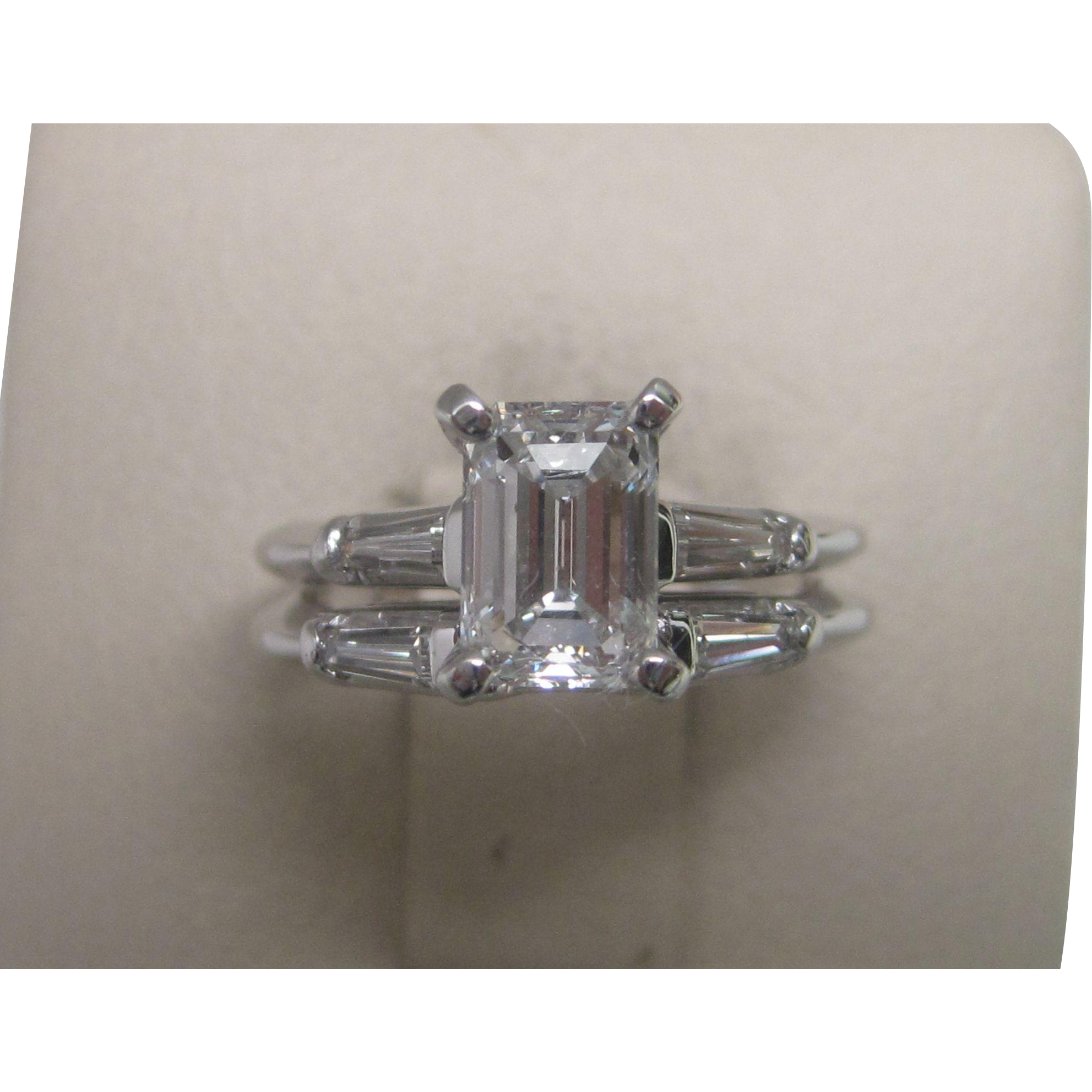 D VS1 1.06 Diamond Engagement Ring with GIA Report 1950s Emerald Cut