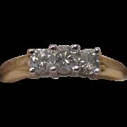 14 Karat Gold Three Diamond Ring