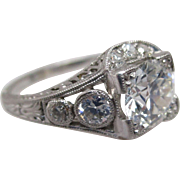 1+ carat Euro Cut in Platinum Art Deco Ring