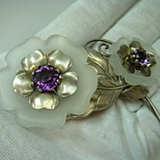 1940s Amethyst and Crystal Sterling Silver Flower Pin