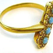 Victorian 14K Gold Turquoise Pearl Ring