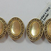 14K Edwardian Gold Cufflinks Scroll Border