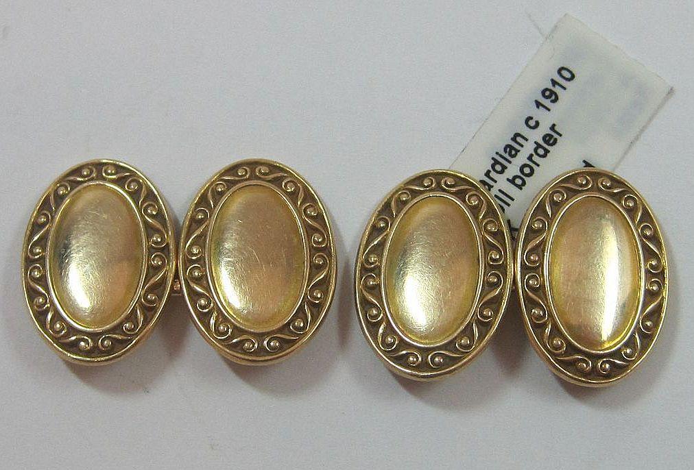 14K Edwardian Gold Cufflinks Scroll Border