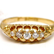 English Diamond & 18K Yellow Gold Band ring wedding engagement