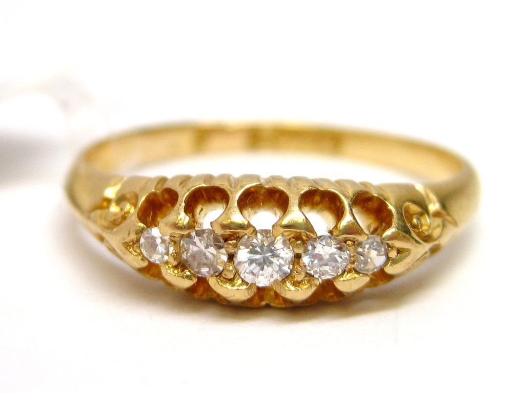 English Diamond & 18K Yellow Gold Band ring wedding engagement Victorian
