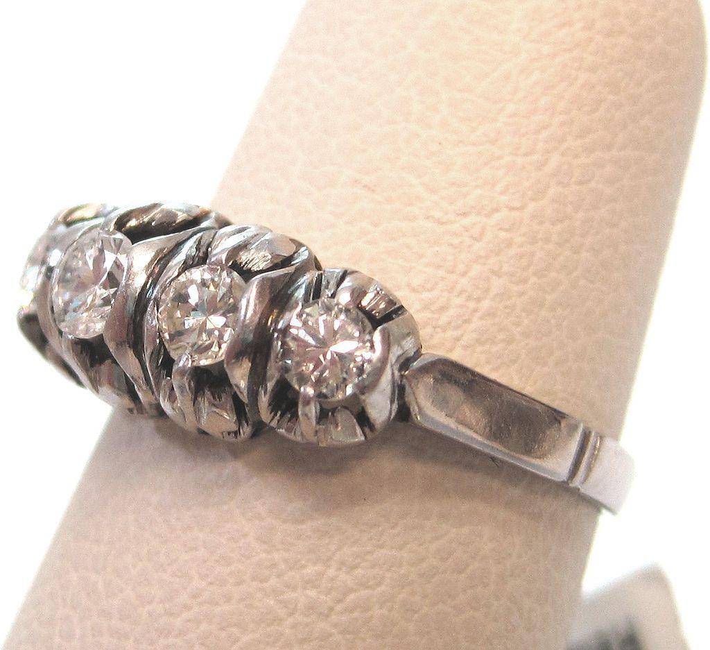 Platinum and Diamond Five Stone Engagement Ring