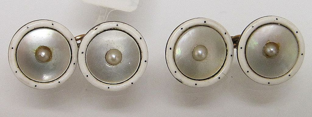 Art Deco Gold Mother of Pearl and Enamel Cufflinks