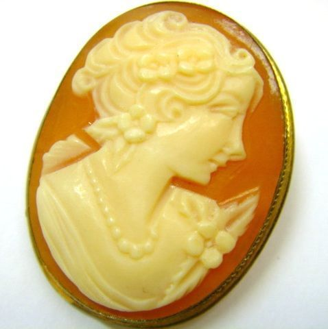 Shell Cameo Gold Filled Pin Pendant