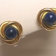 Deco 18K Gold Lapis Lazuli Stud Earrings
