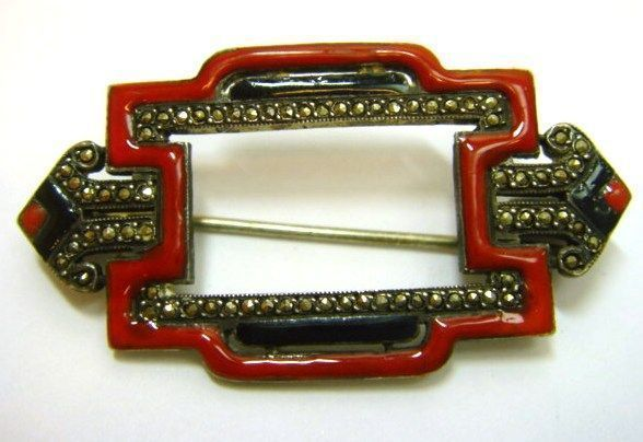 Art Deco Marcasite Two Color Enamel Pin