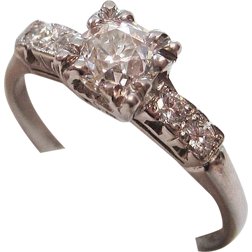 Vintage Silver Diamond Engagement Rings