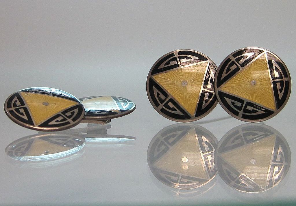 Art Deco Sterling and Enamel Guilloche Cufflinks signed Bassett