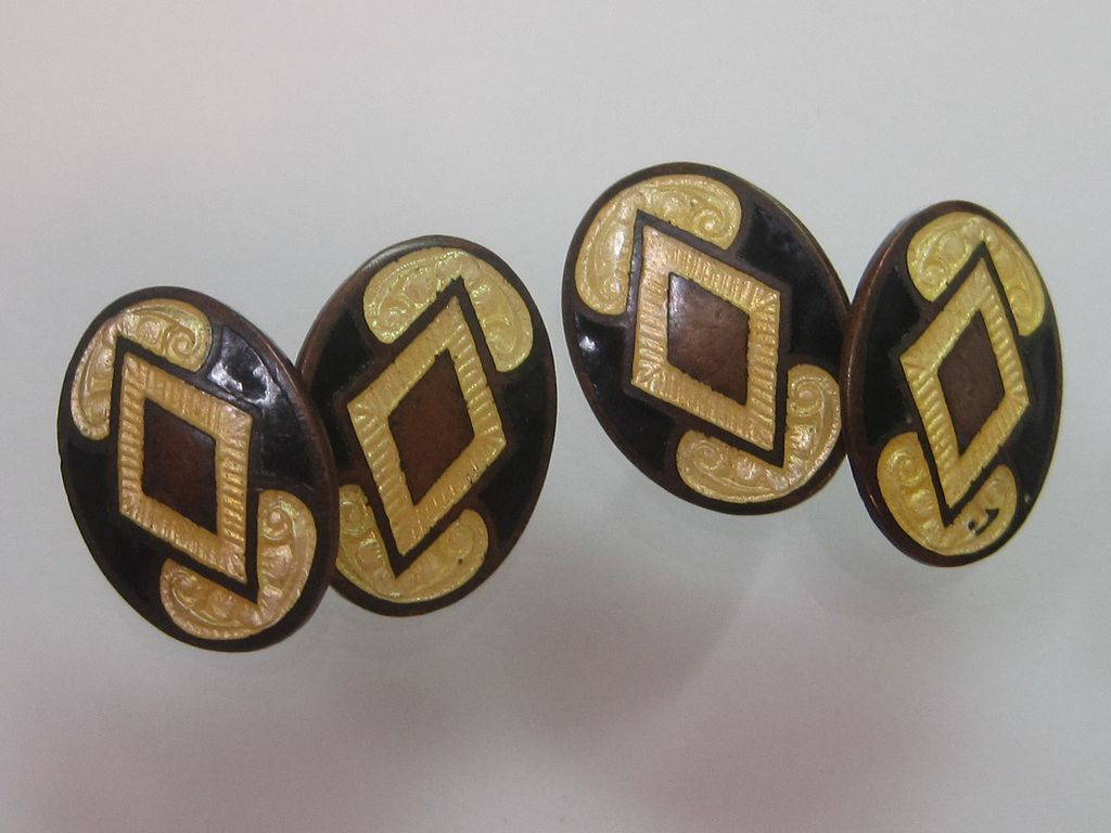 Art Deco Enamel Cufflinks Yellow Black and Copper
