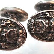 Art Nouveau Sterling Silver Poseidon Cufflinks LBA