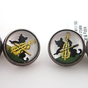 Sterling Silver & Essex Crystal Nursery Rhyme Cat & Fiddle Cufflinks