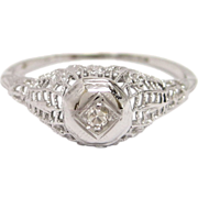 Diamond Filigree 18K White Gold Engagement Ring
