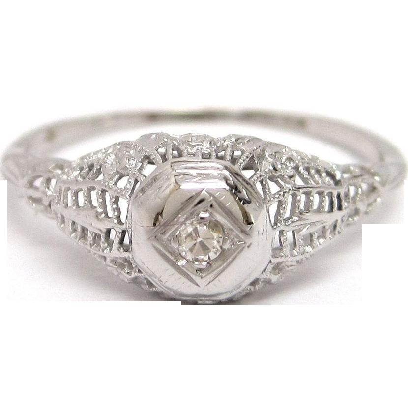 Diamond Filigree 18K White Gold Engagement Ring